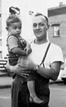 George A. Gamblin with son Sandy in 1949