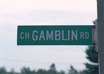 Gamblin Road Sign in Cole's Island, NB, Canada